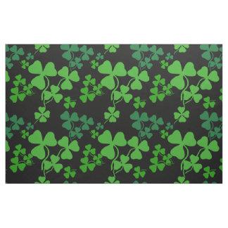 Irish shamrock, black, green clover fabric print 3