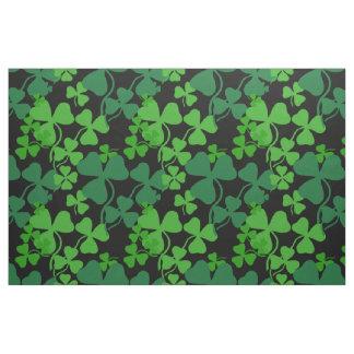 Irish shamrock, black, green clover fabric print 4