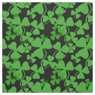 Irish shamrock, black, green clover fabric print 5