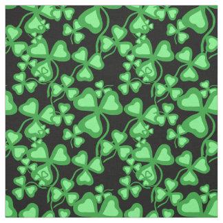 Irish shamrock, black, green clover fabric print 6