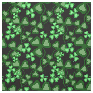 Irish shamrock, black, green clover fabric print 7