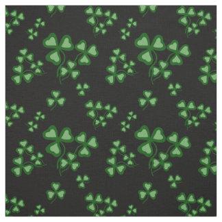 Irish shamrock, black, green clover fabric print 9