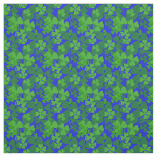 Irish shamrock, blue, clover fabric print 10aa