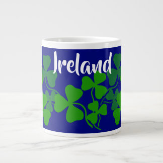 Irish shamrock, blue, clover, Ireland coffee Large Coffee Mug