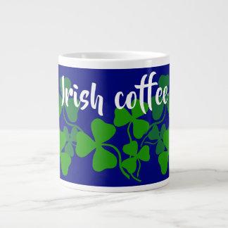 Irish shamrock, blue, clover, Irish coffee Large Coffee Mug