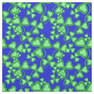 Irish shamrock, blue, green clover fabric print 6