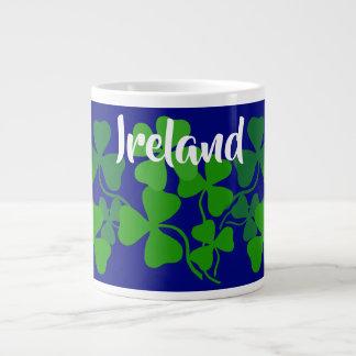 Irish shamrock, blue, Ireland, 4 leaf clover Large Coffee Mug