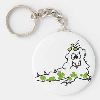 Irish Shamrock Cartoon Slug Monster Keychain