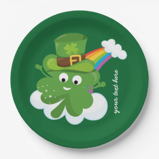 Irish Shamrock * choose your background color Paper Plate