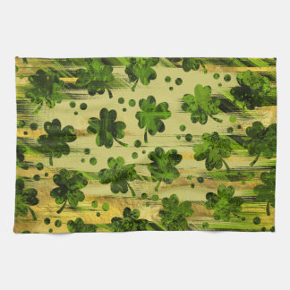 Irish Shamrock -Clover Painted Gold and Green Kitchen Towel