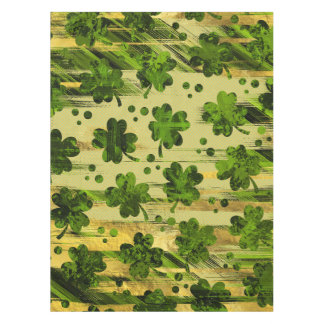 Irish Shamrock -Clover Painted Gold and Green Tablecloth