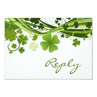 Irish Shamrock (clover) Wedding RSVP Card