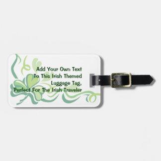 Irish Shamrock Customizable Luggage Tag