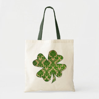 Irish Shamrock Damask Green Tote Bag