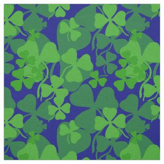Irish shamrock, dark blue, clover fabric print 10a