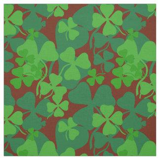 Irish shamrock, dark red, clover fabric print 10a