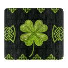 Irish Shamrock Four-leaf clover with celtic decor Cutting Board