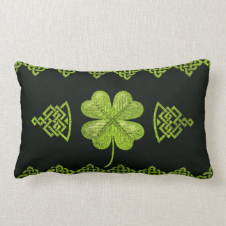Irish Shamrock Four-leaf clover with celtic decor Lumbar Pillow