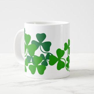 Irish shamrock, green clover (add a name) coffee large coffee mug