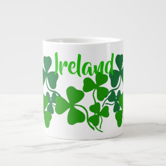 Irish shamrock, green clover, Ireland coffee Large Coffee Mug