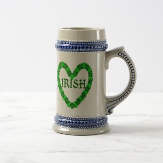 Irish Shamrock Heart Beer Stein