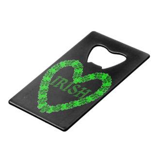 Irish Shamrock Heart Wallet Bottle Opener