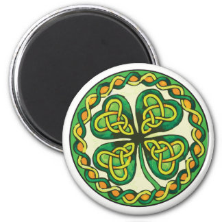 Irish Shamrock in Celtic Knots 2 Inch Round Magnet