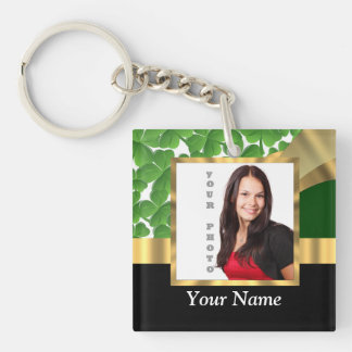 Irish shamrock personalized instagram Single-Sided square acrylic keychain