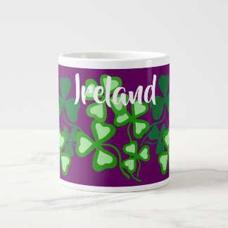 Irish shamrock, purple, Ireland, 4 leaf clover 6 Large Coffee Mug
