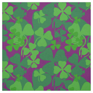 Irish shamrock, purple/plum, clover fabric 10a