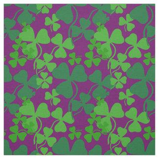 Irish shamrock, purple/plum, clover fabric print 4