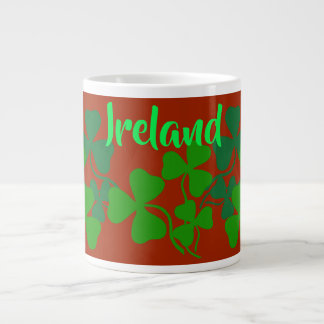 Irish shamrock, red, clover, Ireland coffee Large Coffee Mug