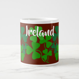 Irish shamrock, red, Ireland, 4 leaf clover Large Coffee Mug