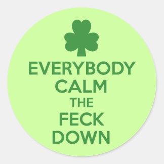 Irish shamrock round stickers