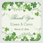Irish shamrock Wedding Thank You Square Sticker