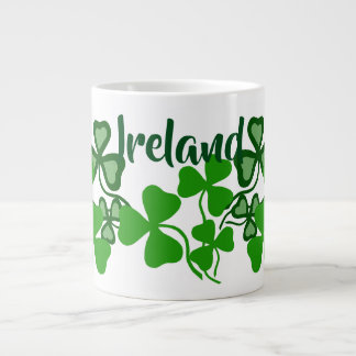 Irish shamrock, white, Ireland, green clover 8 Large Coffee Mug