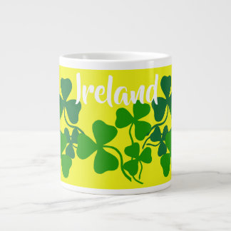 Irish shamrock, yellow, clover, Ireland coffee Large Coffee Mug