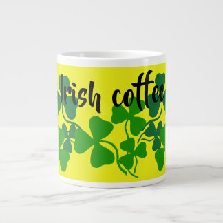 Irish shamrock, yellow, clover, Irish coffee Large Coffee Mug