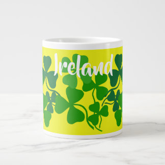Irish shamrock, yellow, Ireland, 4 leaf clover Large Coffee Mug