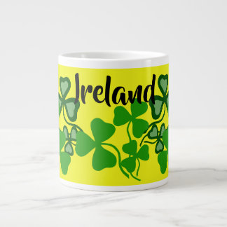 Irish shamrock, yellow, Ireland, green clover 8 Large Coffee Mug