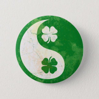 Irish Shamrock Yin Yang Button