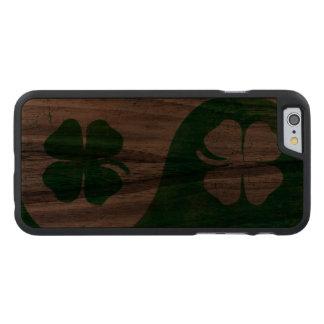 Irish Shamrock Yin Yang Carved Walnut iPhone 6 Case