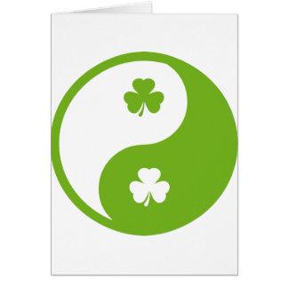 irish shamrock ying and yang card