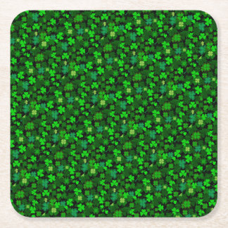 Irish Shamrocks Square Paper Coaster