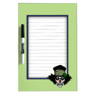Irish Skeleton Clown Green Dry Erase White Board