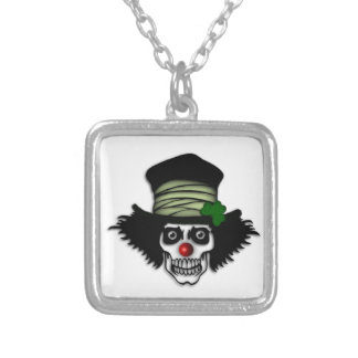 Irish Skeleton Clown Silver Plated Necklace