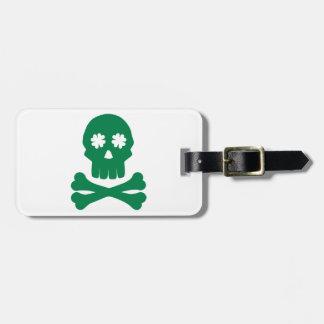 Irish skull shamrock bones luggage tag