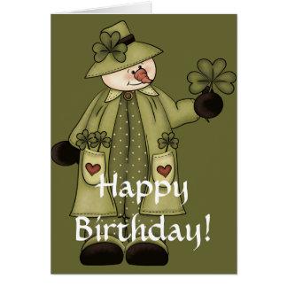 Irish Snowman d3 Happy March Birthday Card