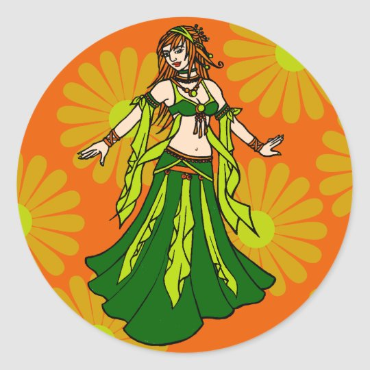 Irish Spring Belly Dancer Classic Round Sticker