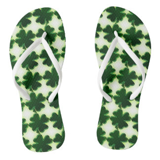 Irish St. Patricks Day Four Leaf Clovers Flip Flops